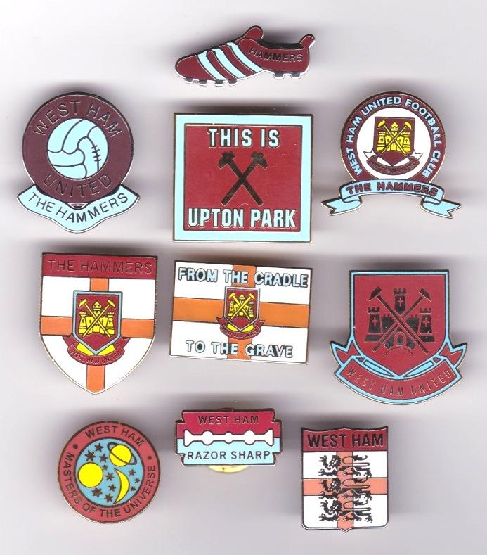 10 x West Ham badges (content varies)