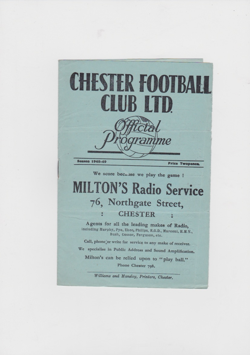 Chester City v Carlisle United - 1948/1949