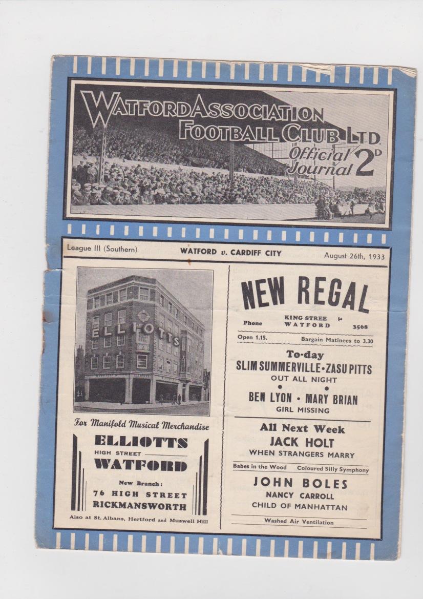 Watford v Cardiff City - 1933/1934