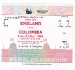 England v Colombia - 1988/1989